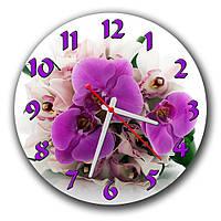 Эксклюзивные настенные часы круглые Erpol Букет из орхидей диаметр 30 см