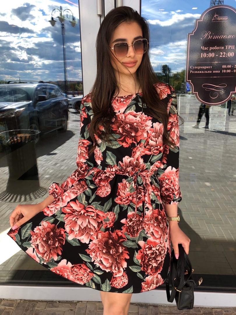 Платье мини легкое свободное с длинным рукавом красные розы