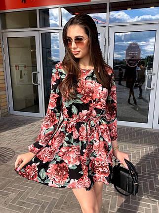 Платье мини легкое свободное с длинным рукавом красные розы, фото 2