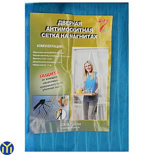 Сетка от комаров на дверь на магнитах, 210х100см однотонная