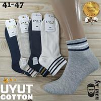 Носки мужские средние деми UYUT men cotton socks хлопок 41-47р.бесшовные с двойной пяткой ассорти НМД-0510186