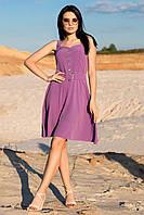 """Літній жіночий сарафан """"Една"""" на широких бретелях в горох,фіолетовий"""