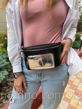 Женская кожаная поясная сумка бананка кросс боди через плечо и на пояс