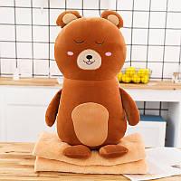 Мягкая игрушка - подушка с пледом Плюшевый медведь, 50см