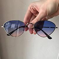 Солнцезащитные очки в стиле Ray Ban лисички голубые линзы
