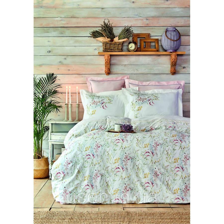 Комплект постельного белья Karaca Home ранфорс евро размер Reveal somon