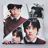 Подушка k-pop 40х40 см із змінною наволочкойВТЅ - Ві, фото 3