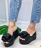 Сабо Star Банты! Босоножки женские черные кожаные шлепанцы на  платформе, фото 6