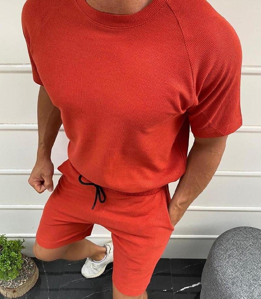 Мужской летний комплект футболка + шорты красного цвета Турция. Живое фото