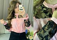 Женская летняя нарядная блузка в вышивкой на сетке софт 42 44 46 48 белая с черным, персиковая с белым, черным