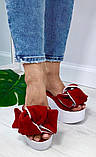 Сабо Star Банты! Босоножки женские красные замшевые шлепанцы на  платформе, фото 3
