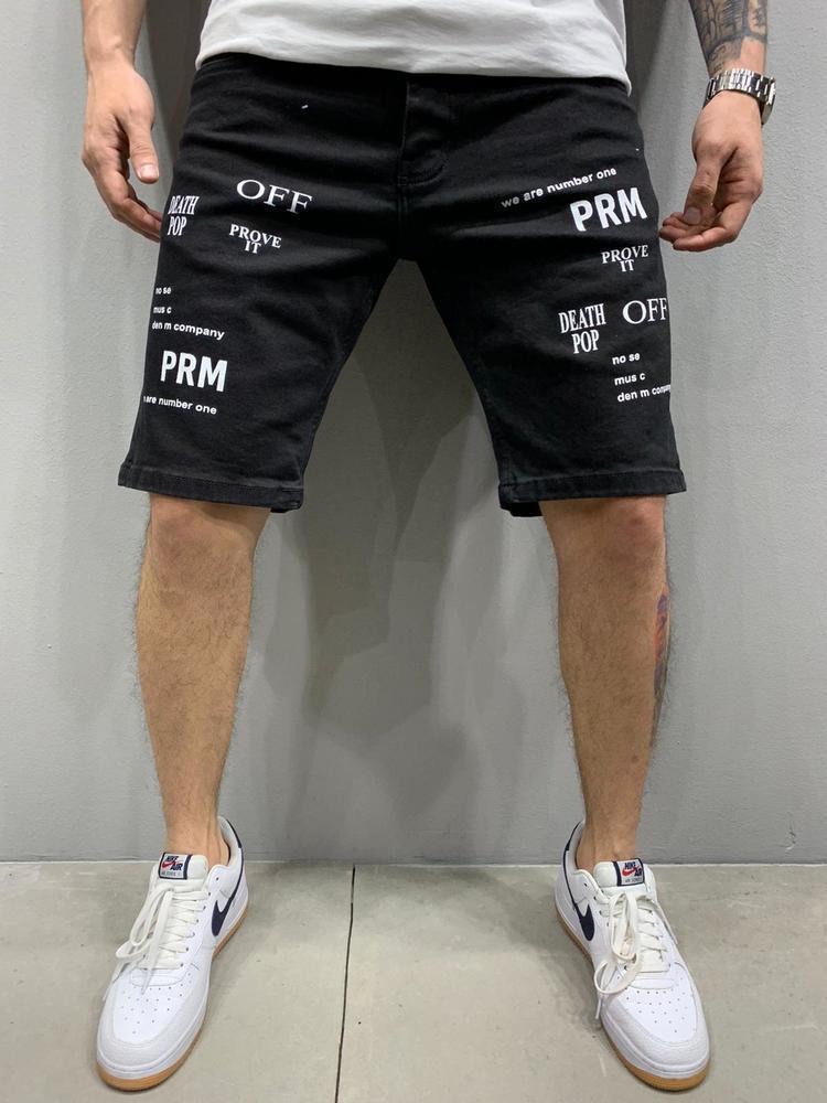Чоловічі джинсові шорти чорного кольору з принтом написи