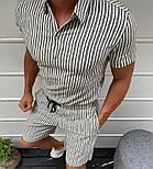 Мужской летний костюм комплект рубашка + шорты белый с золотыми полосами Турция. Живое фото, фото 3