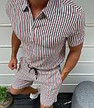 Мужской летний костюм комплект рубашка + шорты белый с золотыми полосами Турция. Живое фото, фото 2