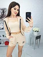 ОЖ45142 Женский спортивный костюм-тройка (Кофта + Топ + Шорты), фото 1