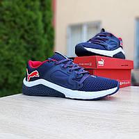 Мужские кроссовки в стиле Puma  Hybrid Racer синие с красным, фото 1