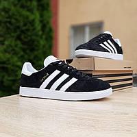 Мужские кроссовки в стиле Adidas Gazelle черные с белым, фото 1