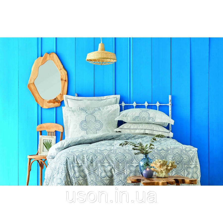 Комплект постельного белья Karaca Home ранфорс евро размер Anemos mavi