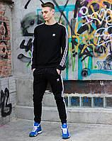 Спортивный мужской костюм Adidas адидас худи штаны хлопок черный весна лето Киев