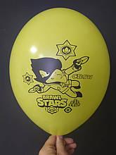 "Латексный шар с рисунком Brawl stаrs Crow желтый 006 12 ""30см Belbal ТМ"" Star """