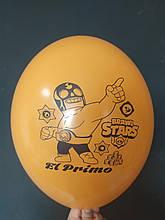 "Латексный шар с рисунком Вrаwl stаrs Primo оранжевый 007 12 ""30см Belbal ТМ"" Star """