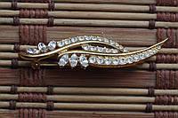 Индийская брошь к кристаллами Сваровски , позолота 24 карата
