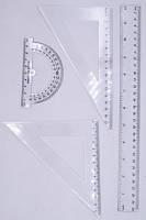 Набор линеек 4шт(лин.-30см,треуг-к-2шт.,транс-р) пласт. 6шт в упак. /96/