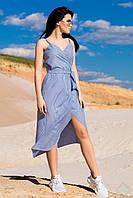 """Легкий бавовняний жіночий сарафан """"Лаура"""" в дрібну смужку, блакитний"""