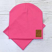 Детская трикотажная шапка чулок комплект корал 48-52р.