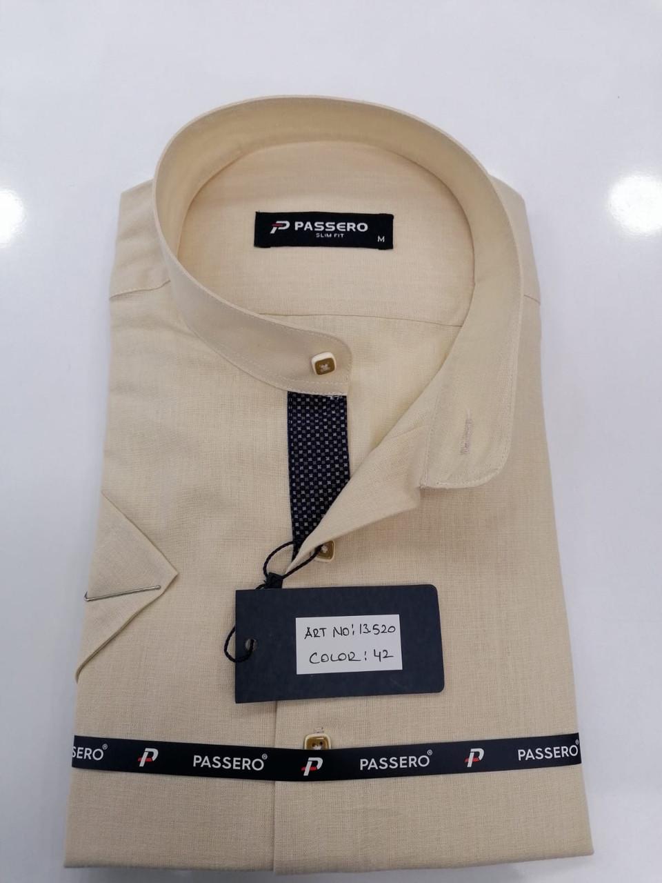 Сорочка з коротким рукавом Passero льон, стійка-комір