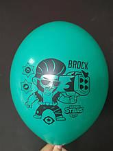 """Латексный шар с рисунком Вrаwl stаrs Brock бирюзовый 005 12 """"30см Belbal ТМ"""" Star """""""