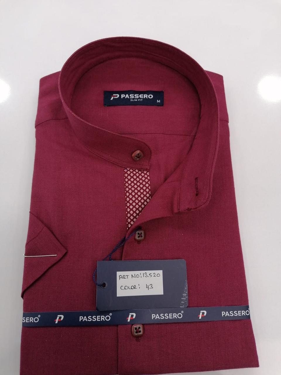 Рубашка с коротким рукавом Passero лён,  стойка-воротник