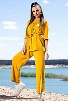 Костюм женский с штанами и футболкой свободного кроя горчичного цвета лето