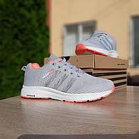 Женские кроссовки в стиле Adidas NEO серые с розовым