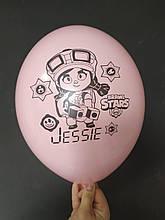 "Латексный шар с рисунком Вrаwl stаrs Gessie розовый pink 004 12 ""30см Belbal ТМ"" Star """