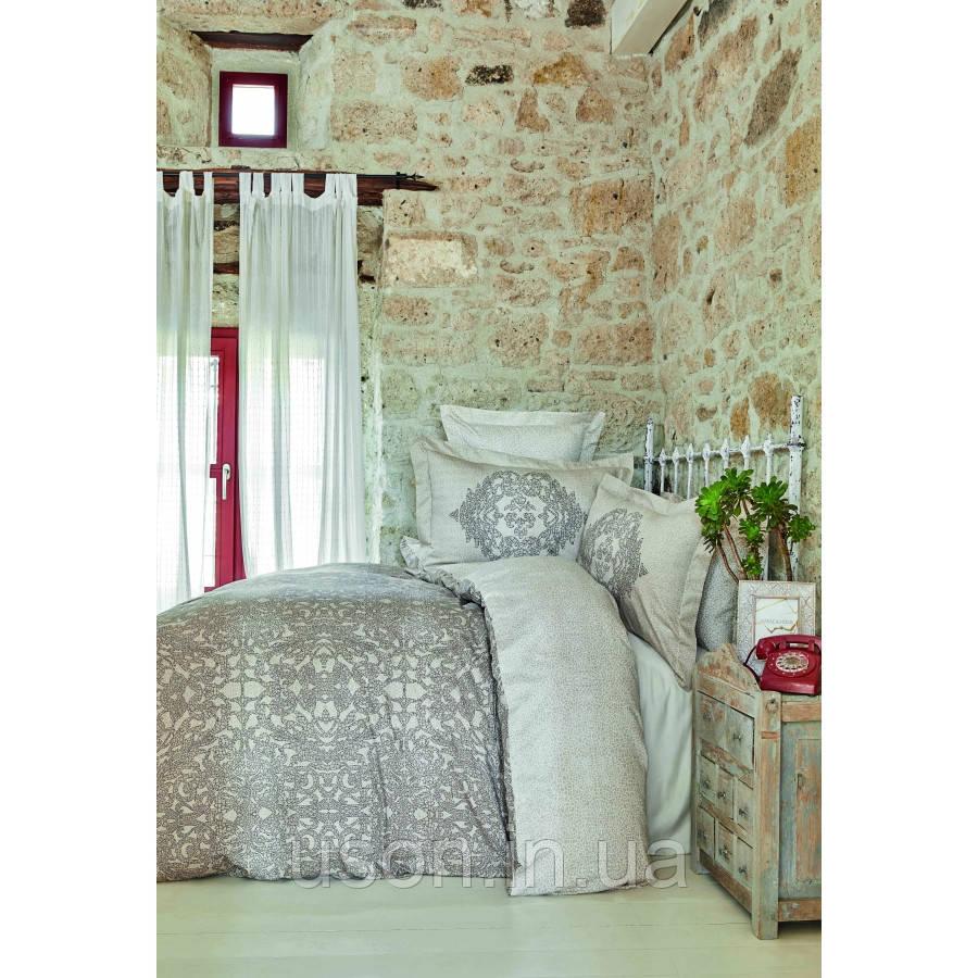 Комплект постельного белья сатин Karaca Home евро размер Adare bej
