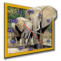 Дизайнерские настенные часы фигурные Erpol Слоны 30x32 см