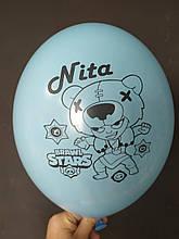 """Латексный шар с рисунком Brаwl stаrs Nita голубой 003 12 """"30см Belbal ТМ"""" Star """""""