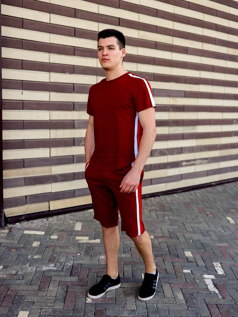 Футболка + шорты. Мужской летний комплект двойка с лампасами .