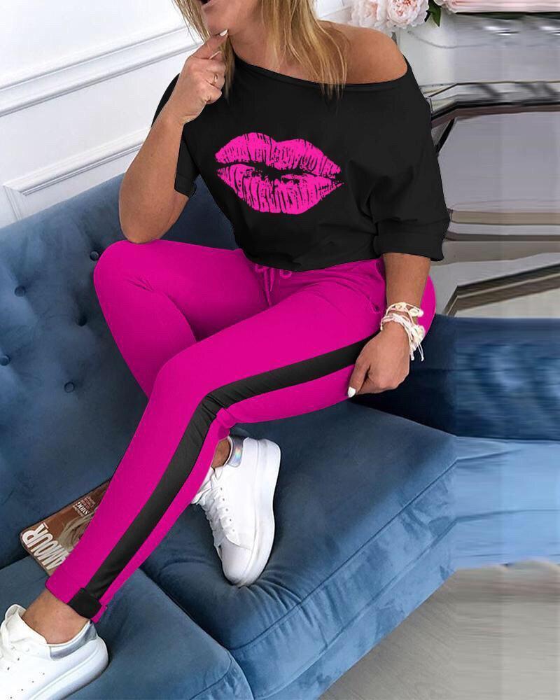 Костюм розовый спортивный свободная кофта с губами и штаны с лампасом