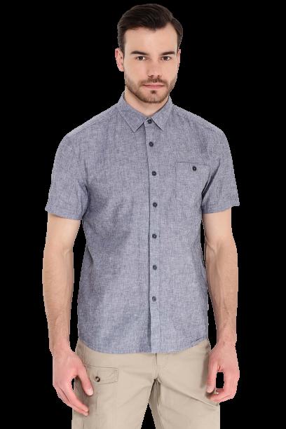 Легкая мужская рубашка с коротким рукавом Finn Flare синяя S17-24015-101