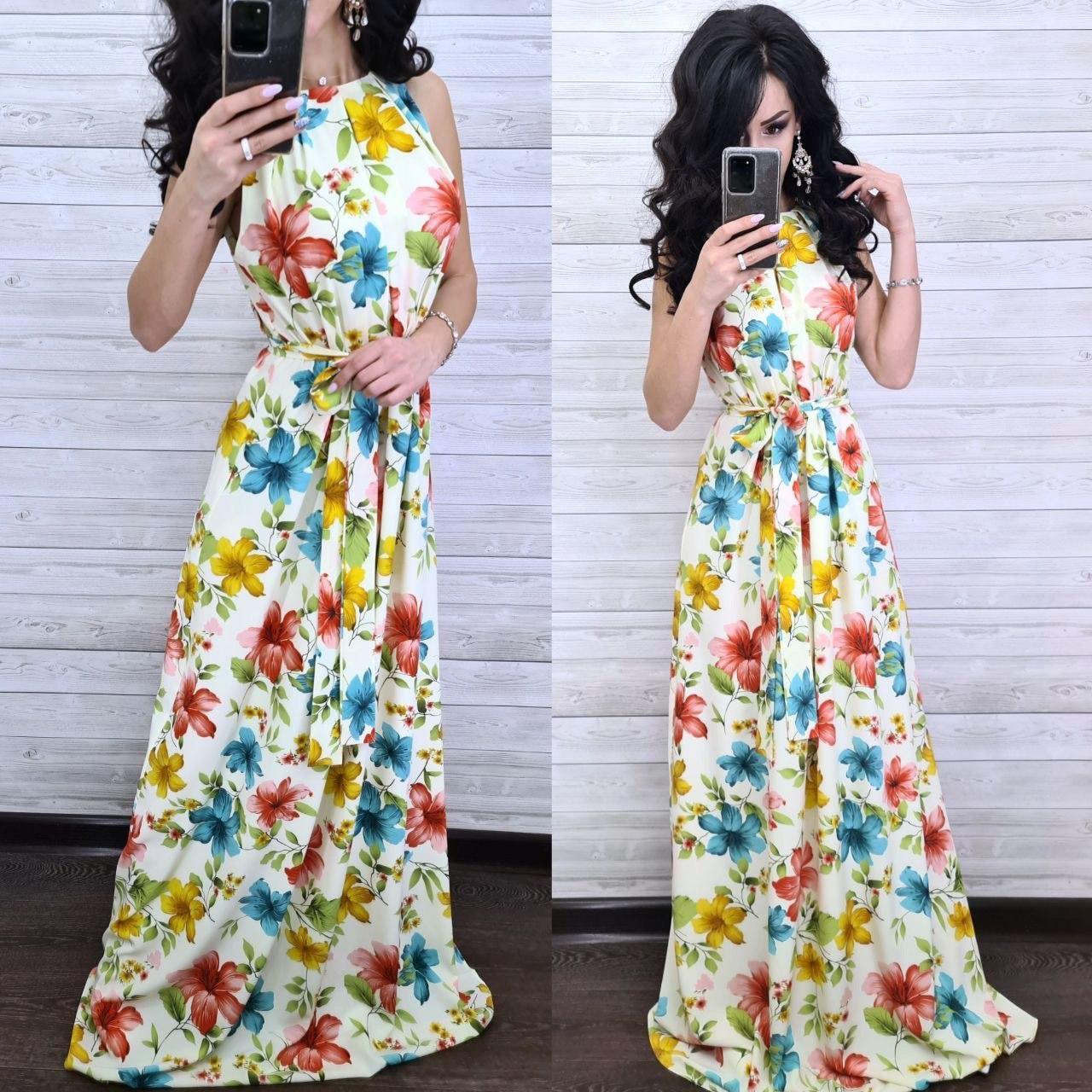 Вечернее летнее платье в пол с открытыми плечами и высокой талией в цветок