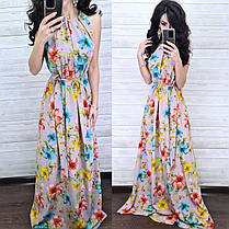 Вечернее летнее платье в пол с открытыми плечами и высокой талией в цветок, фото 3