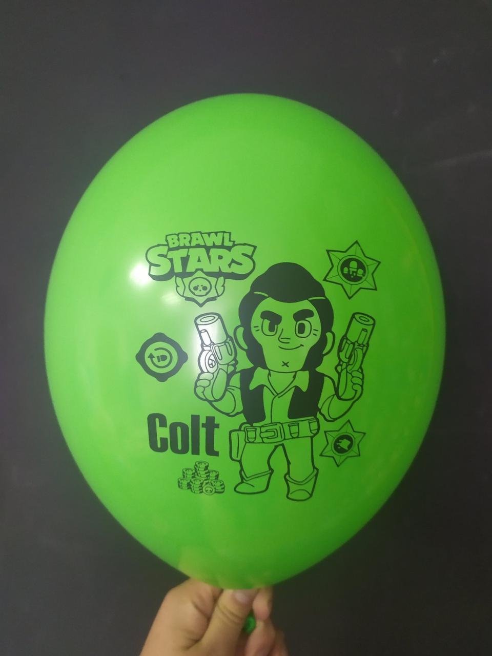 """Латексна кулька з малюнком Вrаwl stаrs Colt зелений 014 12"""" 30см Belbal ТМ """"Star"""""""