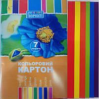 Картон цветной А4, (21х30см) 7листов Кол уп25, фото 1
