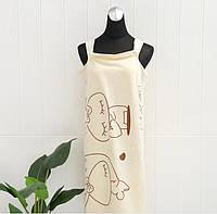 Женское полотенце халат для сауны и бани микрофибра (034987) Лимонный