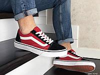 Мужские кеды Vans Old Skool, замшевые, красные с черным в стиле Ванс