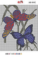 Алмазная вышивка АВ 4042 Бабочки (полная зашивка)