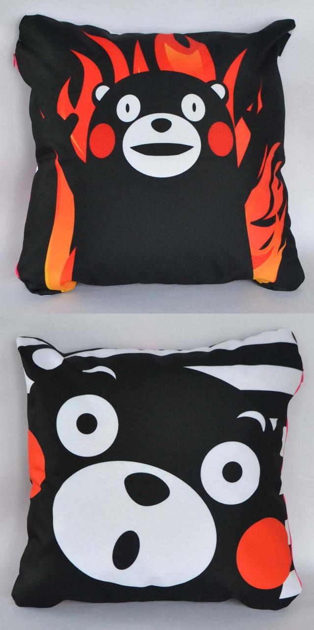 Подушка аніме 40х40 см із змінною наволочкою Кумамон