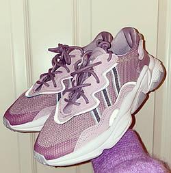 Женские кроссовки Adidas Ozweego White Violet рефлективные. Фото в живую. Реплика
